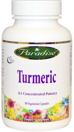 Turmeric 4:1 Concentrated Potency, 90 Veggie Caps by Paradise Herbs, 補充劑,抗氧化劑,薑黃素,健康,消化,胃 HK 香港