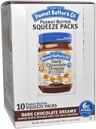 Squeeze Packs, Dark Chocolate Dreams Peanut Butter, 10 Per Box, 1.15 oz (32 g) Each by Peanut Butter & Co., 食物,花生醬 HK 香港