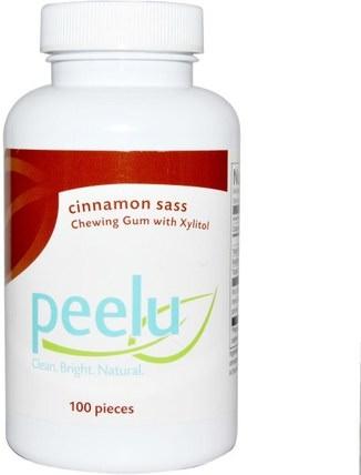 Peelu, Chewing Gum with Xylitol, Cinnamon Sass, 100 Pieces 沐浴,美容,口腔牙齒護理,木糖醇口香糖,牙齒美白