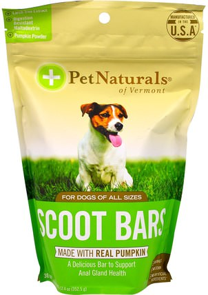 Scoot Bars, For Dogs, 30 Bars, 12.4 oz (352.5 g) by Pet Naturals of Vermont, 補品,寵物護理,寵物狗 HK 香港