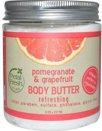 Body Butter, Refreshing, Pomegranate & Grapefruit, 8 oz (237 ml) by Petal Fresh, 健康,皮膚,身體黃油 HK 香港