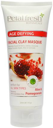 Botanicals Age Defying Facial Clay Masque, Aloe & Pomegranate, 7 fl oz (200 ml) by Petal Fresh, 美容,面部護理,皮膚,面膜,抗衰老,亮白面膜 HK 香港