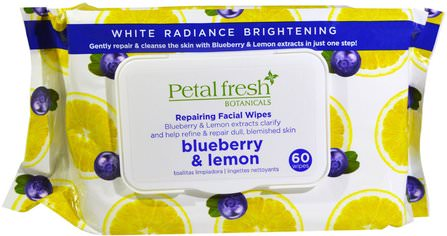 Botanicals, Repairing Facial Wipes, Blueberry & Lemon, 60 Wipes by Petal Fresh, 美容,面部護理,面部濕巾 HK 香港