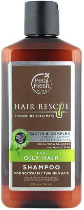 Hair Rescue, Thickening Treatment Shampoo, for Oily Hair, 12 fl oz (355 ml) by Petal Fresh, 洗澡,美容,頭髮,頭皮,洗髮水,護髮素 HK 香港