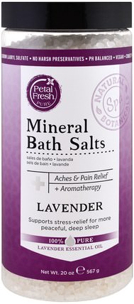 Mineral Bath Salts, Lavender, 20 oz (567 g) by Petal Fresh, 洗澡,美容,浴鹽 HK 香港