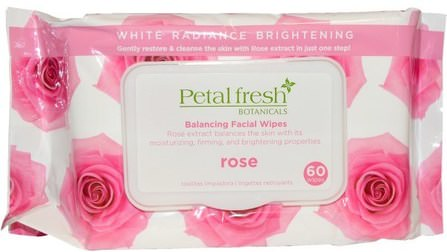 Petal Fresh Botanicals, Balancing Facial Wipes, Rose, 60 Wipes by Petal Fresh, 美容,面部護理,面部濕巾,美白面部護理 HK 香港