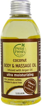 Pure, Coconut Body & Massage Oil, Ultra Moisturizing, 5.5 oz (163 ml) by Petal Fresh, 沐浴,美容,摩洛哥堅果油,椰子油皮 HK 香港