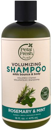 Pure, Volumizing Shampoo, Rosemary & Mint, 16 fl oz (475 ml) by Petal Fresh, 洗澡,美容,頭髮,頭皮,洗髮水,護髮素 HK 香港