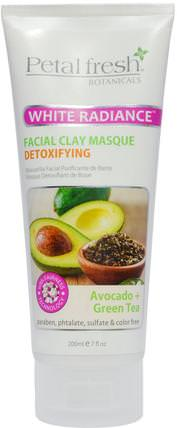 White Radiance Facial Clay Masque, Avocado + Green Tea, 7 fl oz (200 ml) by Petal Fresh, 美容,面膜,泥面膜 HK 香港