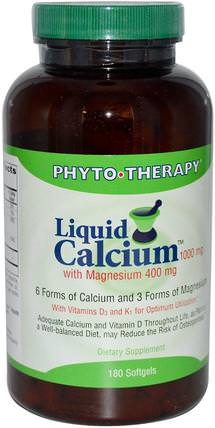 with Magnesium, 1000 mg /400 mg, 180 Softgels by Phyto Therapy Liquid Calcium, 補充劑,礦物質,鈣和鎂 HK 香港