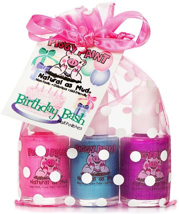 Non-Toxic Nail Polishes, Natural as Mud, Birthday Bash, 3 Bottles, 0.5 fl oz (15 ml) Each by Piggy Paint, 沐浴,美容,禮品套裝,化妝品禮品套裝,化妝,指甲油 HK 香港