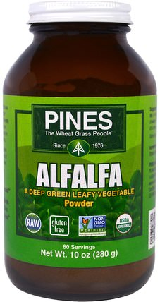 Alfalfa Powder, 10 oz (280 g) by Pines International, 草藥,苜蓿 HK 香港