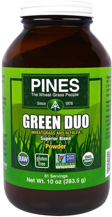 Green Duo Powder, 10 oz (283.5 g) by Pines International, 草藥,苜蓿,超級食品,小麥草 HK 香港