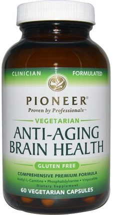 Anti-Aging Brain Health, 60 Veggie Caps by Pioneer Nutritional Formulas, 美容,抗衰老,注意力缺陷障礙,添加,adhd,腦 HK 香港