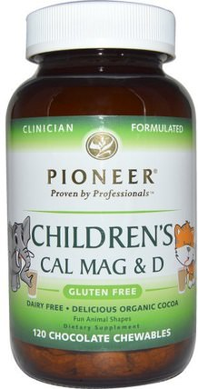 Childrens Cal Mag & D, Chocolate Flavor, 120 Chewables by Pioneer Nutritional Formulas, 補充劑,礦物質,鈣維生素D,鈣和鎂 HK 香港