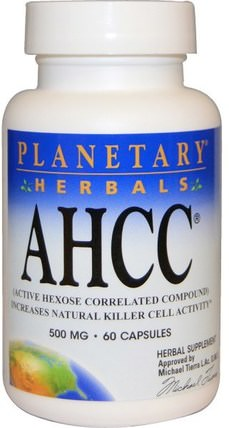 AHCC (Active Hexose Correlated Compound), 500 mg, 60 Capsules by Planetary Herbals, 補充劑,藥用蘑菇,ahcc HK 香港