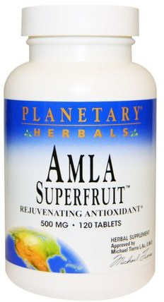 Amla Superfruit Rejuvenating Antioxidant, 500 mg, 120 Tablets by Planetary Herbals, 草藥,阿育吠陀阿育吠陀草藥,amla(印度醋栗amalaki amlaki) HK 香港