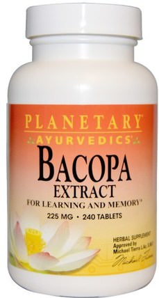 Ayurvedics, Bacopa Extract, 225 mg, 240 Tablets by Planetary Herbals, 草藥,bacopa(brahmi) HK 香港