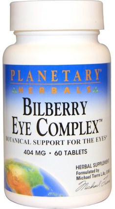 Planetary Herbals, Bilberry Eye Complex, 404 mg, 60 Tablets 草藥,小米草