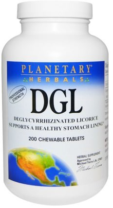 DGL, Deglycyrrhizinated Licorice, 200 Chewable Tablets by Planetary Herbals, 草藥,甘草根(dgl),adaptogen HK 香港