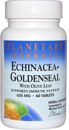 Echinacea-Goldenseal with Olive Leaf, 635 mg, 60 Tablets by Planetary Herbals, 補充劑,抗生素,紫錐花和黃金,健康,橄欖葉 HK 香港