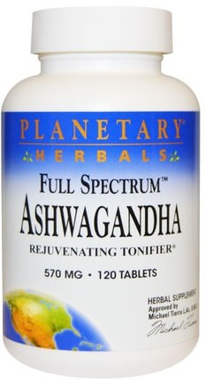 Full Spectrum Ashwagandha, 570 mg, 120 Tablets by Planetary Herbals, 草藥,ashwagandha withania somnifera,ashwagandha,補充劑,adaptogen HK 香港