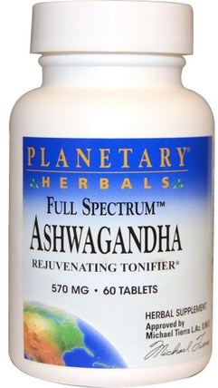 Full Spectrum, Ashwagandha, 570 mg, 60 Tablets by Planetary Herbals, 草藥,ashwagandha withania somnifera,ashwagandha,補充劑,adaptogen HK 香港