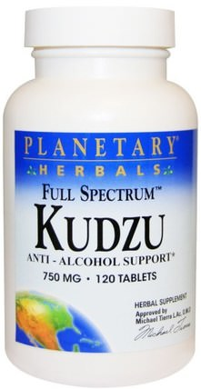 Full Spectrum Kudzu, 750 mg, 120 Tablets by Planetary Herbals, 草藥,葛根,藥物濫用,成癮 HK 香港