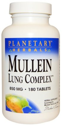 Mullein Lung Complex, 850 mg, 180 Tablets by Planetary Herbals, 健康,肺和支氣管,毛蕊花,哮喘 HK 香港