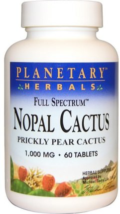 Nopal Cactus, Full Spectrum, Prickly Pear Cactus, 1.000 mg, 60 Tablets by Planetary Herbals, 健康,血糖,胭脂仙人掌(仙人掌仙人掌) HK 香港