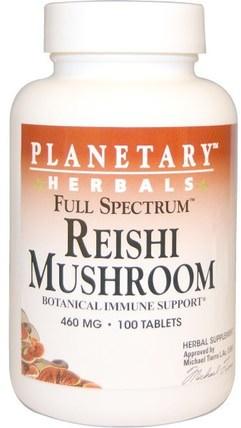 Planetary Herbals, Reishi Mushroom, Full Spectrum, 460 mg, 100 Tablets 補充劑,藥用蘑菇,靈芝蘑菇,adaptogen