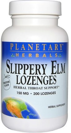 Slippery Elm Lozenges, Tangerine Flavor, 150 mg, 200 Lozenges by Planetary Herbals, 草藥,滑榆樹 HK 香港