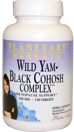 Wild Yam - Black Cohosh Complex, 740 mg, 120 Tablets by Planetary Herbals, 健康,女性,黑升麻,黑升麻更年期,野山藥 HK 香港