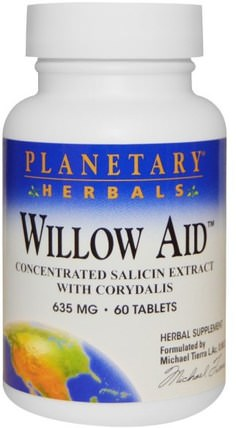 Planetary Herbals, Willow Aid, 635 mg, 60 Tablets 健康,女性,boswellia,白柳樹皮
