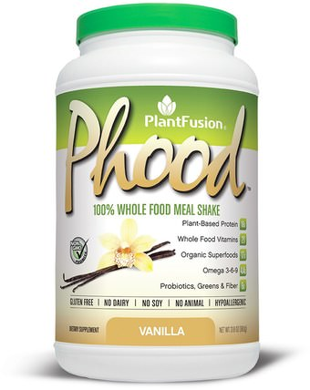 PlantFusion, Phood, 100% Plant-Based Whole Food Meal Shake, Vanilla, 31.8 oz (900 g) 補充劑,代餐奶昔