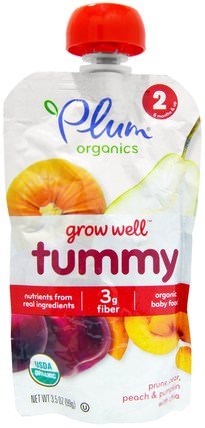 Plum Organics, Grow Well, Tummy, Prune, Pear, Peach & Pumpkin with Chia, 3.5 oz (99 g) 兒童健康,嬰兒餵養,食物,兒童食品
