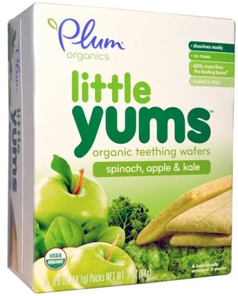 Little Yums, Organic Teething Wafers, Spinach, Apple & Kale, 6 Packs, 0.5 oz (14.1 g) Each by Plum Organics, 兒童健康,嬰兒出牙,嬰兒餵養,嬰兒零食和手指食品,出牙餅乾餅乾 HK 香港