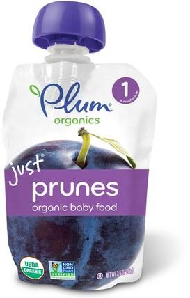 Organic Baby Food, Stage 1, Just Prunes, 3.5 oz (99 g) by Plum Organics, 兒童健康,嬰兒餵養,食物,兒童食品 HK 香港
