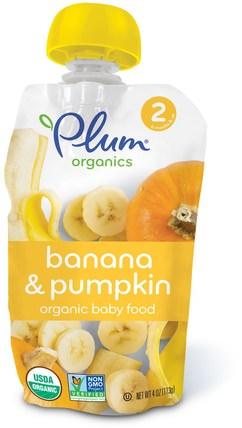 Plum Organics, Organic Baby Food, Stage 2, Banana & Pumpkin, 4 oz (113 g) 兒童健康,嬰兒餵養,食物,兒童食品