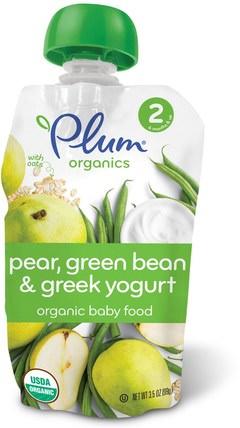 Organic Baby Food, Stage 2, Pear, Green Bean & Greek Yogurt, 3.5 oz (99 g) by Plum Organics, 兒童健康,嬰兒餵養,食物,兒童食品 HK 香港