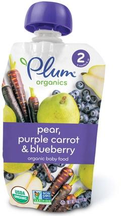 Organic Baby Food, Stage 2, Pear, Purple Carrot & Blueberry, 4 oz (113 g) by Plum Organics, 兒童健康,嬰兒餵養,食物,兒童食品 HK 香港