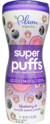 Super Puffs, Organic Veggie, Fruit & Grain Puffs, Blueberry & Purple Sweet Potato, 1.5 oz (42 g) by Plum Organics, 兒童健康,嬰兒餵養,嬰兒零食和手指食品,泡芙 HK 香港