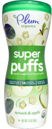 Super Puffs, Organic Veggie, Fruit & Grain Puffs, Spinach & Apple, 1.5 oz (42 g) by Plum Organics, 兒童健康,嬰兒餵養,嬰兒零食和手指食品,泡芙 HK 香港