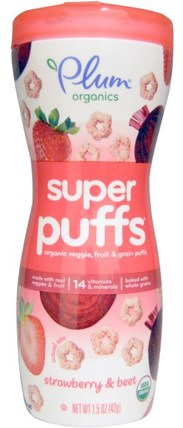 Super Puffs, Organic Veggie, Fruit & Grain Puffs, Strawberry & Beet, 1.5 oz (42 g) by Plum Organics, 兒童健康,嬰兒餵養,嬰兒零食和手指食品,泡芙 HK 香港