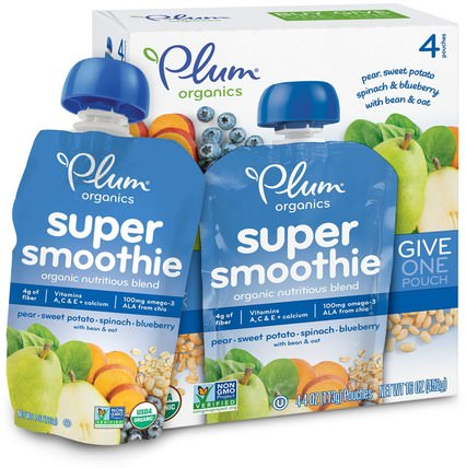 Super Smoothie, Pear, Sweet Potato, Spinach, Blueberry with Bean & Oat, 4 Pouches, 4 oz (113 g) Each by Plum Organics, 兒童健康,嬰兒餵養,食物,兒童食品 HK 香港