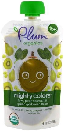 Plum Organics, Tots, Mighty Colors, Green, Kiwi, Pear, Spinach & Green Garbanzo Bean, 3.5 oz (99 g) 兒童健康,嬰兒餵養,食物