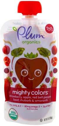 Tots, Mighty Colors, Red, Strawberry, Apple, Red Bell Pepper, Beet, Rhubarb & Amaranth, 3.5 oz (99 g) by Plum Organics, 兒童健康,嬰兒餵養,食物 HK 香港