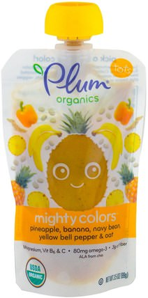 Tots, Mighty Colors, Yellow, Pineapple, Banana, Navy Bean, Yellow Bell Pepper & Oat, 3.5 oz (99 g) by Plum Organics, 兒童健康,嬰兒餵養,食物 HK 香港