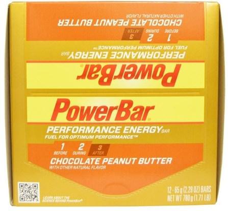 PowerBar, Performance Energy, Chocolate Peanut Butter, 12 Bars, 2.29 oz (65 g) Each 運動,蛋白質棒