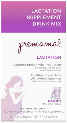 Lactation Support Drink Mix, Lactation, Mixed Berry, 28 Packets, 2.47 oz (70 g) by Premama, 兒童健康,兒童食品,嬰兒餵養,母乳喂養 HK 香港